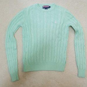 Vineyard Vines mint cable knit cotton sweater sz S